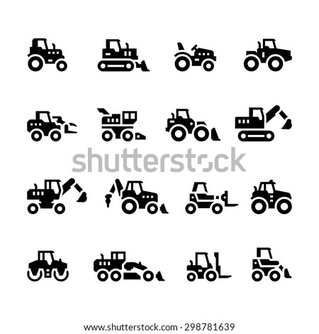 Set icons of tractors, farm and construction vehicles isolated on white. Vector illustration - stock vector