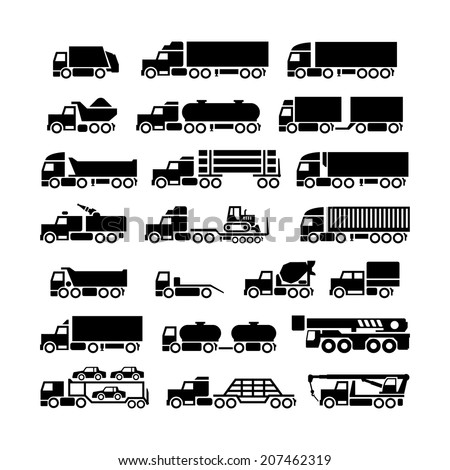 Set icons of trucks, trailers and vehicles isolated on white. Vector illustration - stock vector