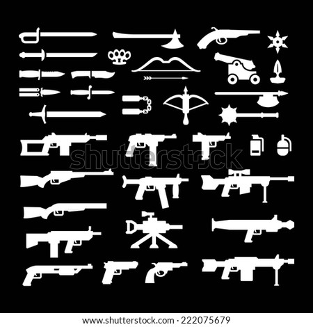 Set icons of weapons isolated on black. Vector illustration - stock vector