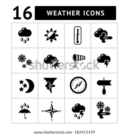 Set icons of weather isolated on white. Vector illustration - stock vector