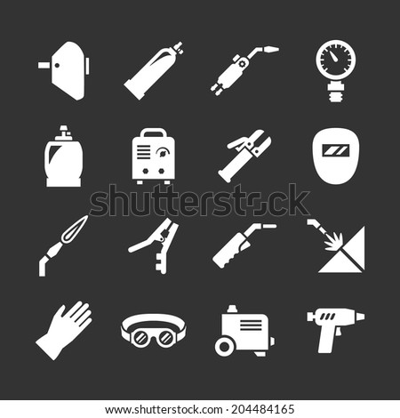 Set icons of welding isolated on black. Vector illustration - stock vector