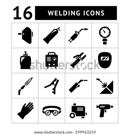 Set icons of welding isolated on white. Vector illustration - stock vector
