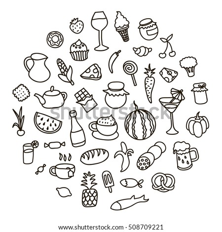 Set icons on the theme of food, different dishes and cuisines. Beautiful vector design.
