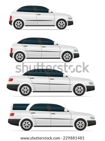 set icons passenger cars with different bodies vector illustration isolated on white background - stock vector