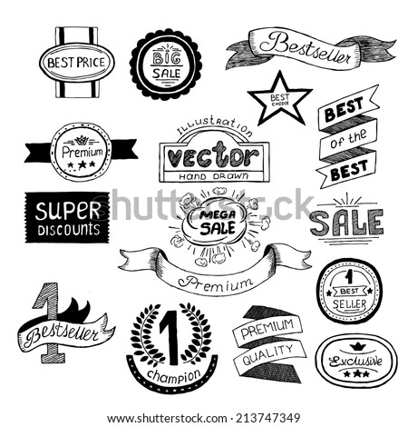 Set icons Premium quality best choice labels in sketch style on an isolated background. Grunge template design element vector. Abstract Design elements for your projects. Vector illustration - stock vector
