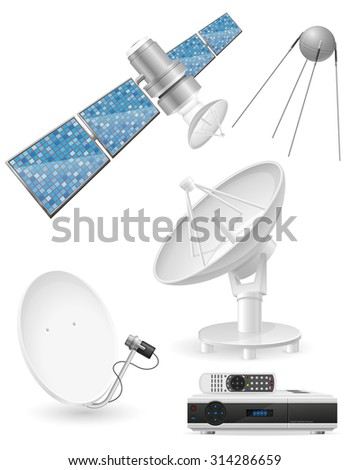 set icons satellite broadcasting vector illustration isolated on white background - stock vector