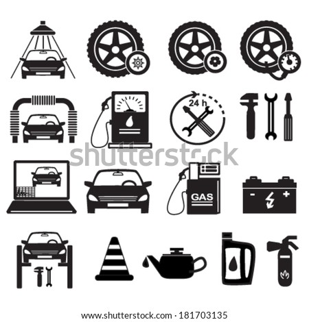 Set icons - silhouette Car service maintenance icon & Gas station pump with fuel nozzle sign. Vector illustration eps 10, isolated on white background.   - stock vector
