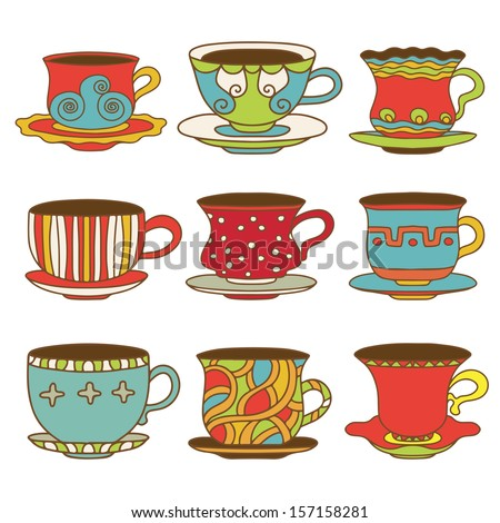Set icons tea / coffee cups - vector  - stock vector