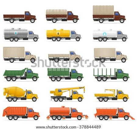 set icons trucks semi trailer vector illustration isolated on white background - stock vector