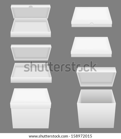set icons white packing box vector illustration isolated on gray background - stock vector
