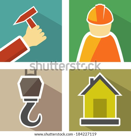 set icons with construction hook, hand with hammer, builder man and home - stock vector