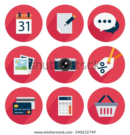 Set icons with shadow on a red background, calendar, edit, chat, photo, camera, discount, card, calculator, basket - stock vector
