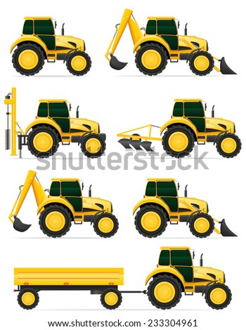 set icons yellow tractors vector illustration isolated on white background - stock vector