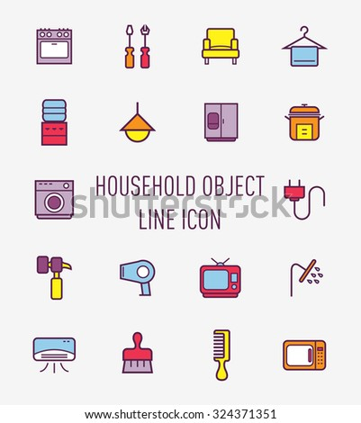 set if household object icon  - stock vector