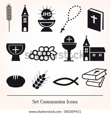 Set Illustration of a communion depicting traditional Christian - stock vector