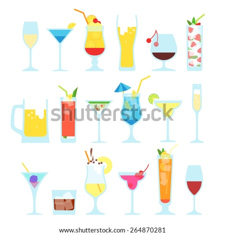Set illustration of summer cocktails. On a white background with the names. - stock vector