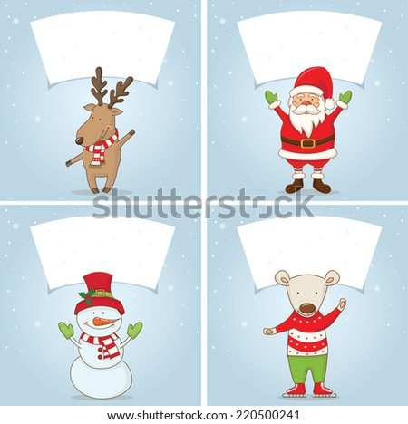 Set Illustration winter label with Christmas motifs .Vector
