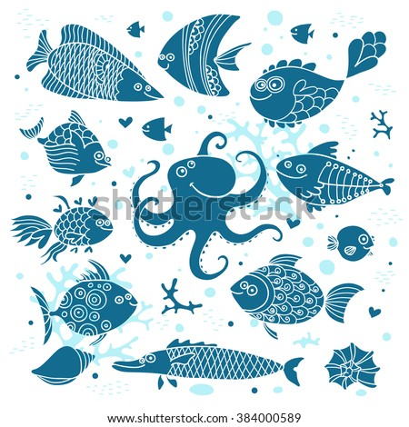Set imprint cute fish and octopus for the design. Vector illustration.