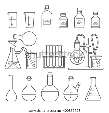 Set in Line style. chemical flask. Erlenmeyer flask, distilling flask, volumetric flask, test tube. Vector illustration. - stock vector