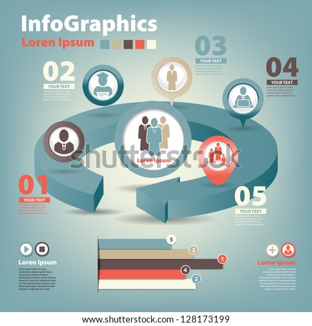 set infographic on teamwork in business - stock vector