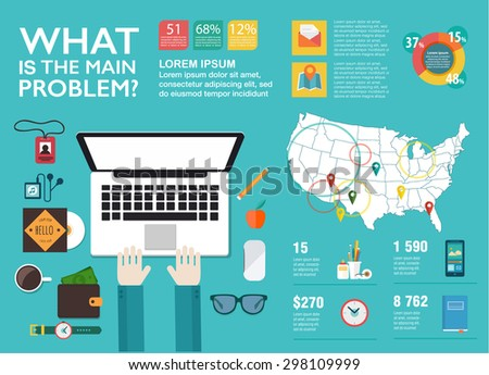 Set infographics in flat style. Vector illustrations about digital projects, management, clients brief, design and communication. Use in website, corporate report, presentation, advertising, marketing - stock vector