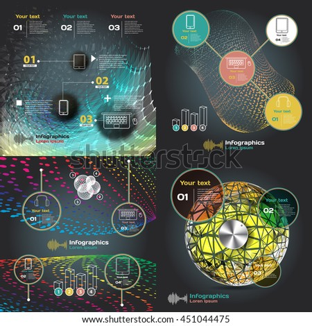 set infographics with sound waves on a dark background - stock vector