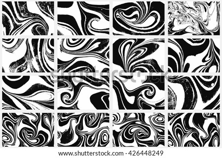 Set Ink texture of 16 watercolor hand drawn artistic marbling invitation, traditional Turkish ebru illustration. Abstract background print on paper. Template for dress and cloth print, invitations. - stock vector