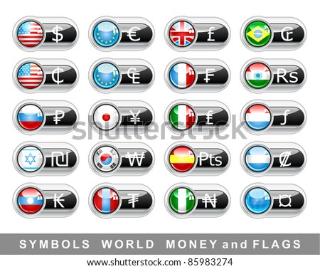 Set International currency symbols and flags - stock vector