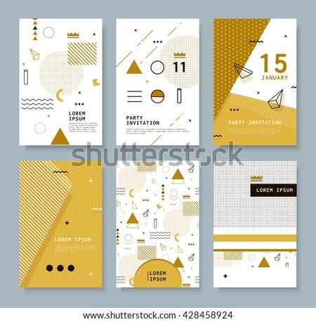 Set invitation geometric shapes covers books stock photo photo set invitation with geometric shapes covers for books postcards notebooks cover magazines stopboris Choice Image