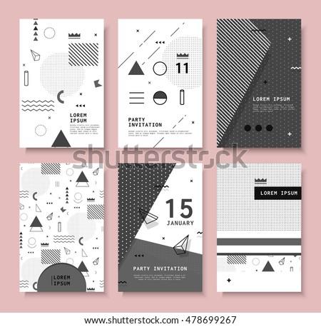 Set invitation geometric shapes covers books stock vector hd set invitation with geometric shapes covers for books postcards notebooks cover magazines stopboris Choice Image