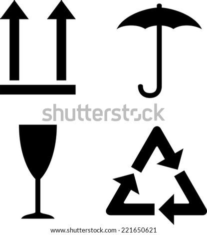 Set isolated black cargo symbols - stock vector