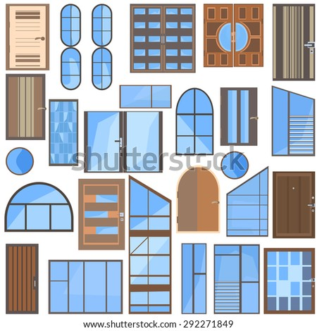 Set isolated collection of modern icons flat glass, plastic, metal-plastic windows and wooden doors for design. Vector illustration - stock vector