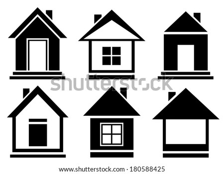set isolated home silhouette - vector collection house icons - stock vector