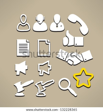 Set isolated icons for web. Business and communication. - stock vector