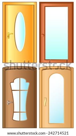 set isolated modern doors on white background - stock vector
