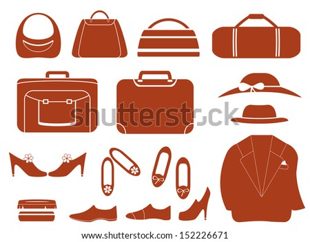 set isolated objects - clothes, bags and shoes  - stock vector