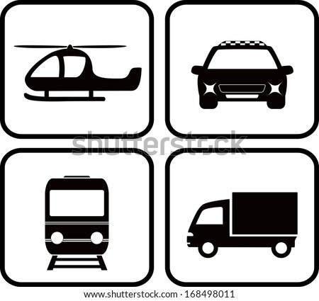 set isolated transport icons - truck, taxi car, train, helicopter - stock vector