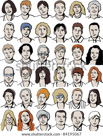 Set isolated  unrecognizable people portraits on white. Collection with different unrecognizable faces. Vector illustration with isolated objects. - stock vector