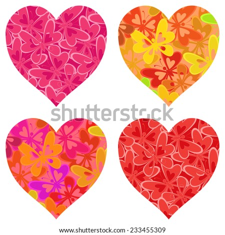 Set isolated Valentine holiday hearts with patterns of colorful butterflies. Vector - stock vector