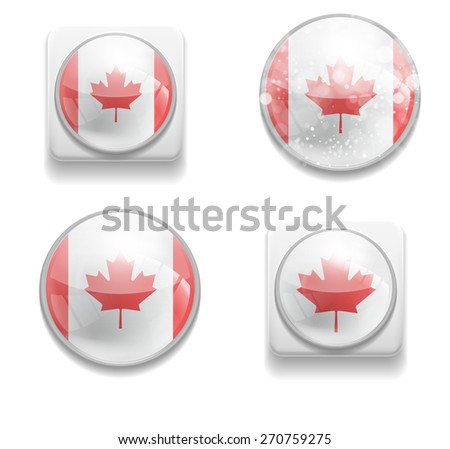 Set Isolated Vector Flag of Canada is made in form of realistic volume glass button plastic-based on white background. Use for brochure, printed materials, element, web site, Illustration, Image, Icon - stock vector