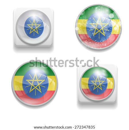 Set Isolated Vector Flag of Ethiopia is made in form of realistic volume glass button plastic-based on white background for brochure, printed material, element, web site, Illustration, Image, Icon - stock vector