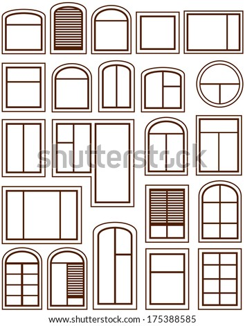 set isolated windows silhouette on white background - stock vector
