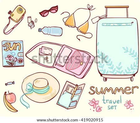 Set items for a beach holiday, traveling in pastel colors