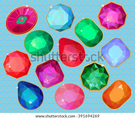 Seamless Pattern Different Jewels Stock Vector 87216919 ...