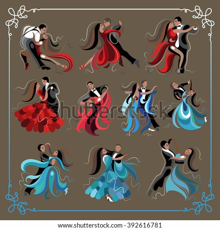 Set (kit) of dancing men and women (waltz and tango). Suitable for invitation, flyer, sticker, poster, banner, card,label, cover, web. Vector illustration. - stock vector