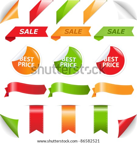 Set Labels And Web Ribbons, Isolated On White Background, Vector Illustration - stock vector