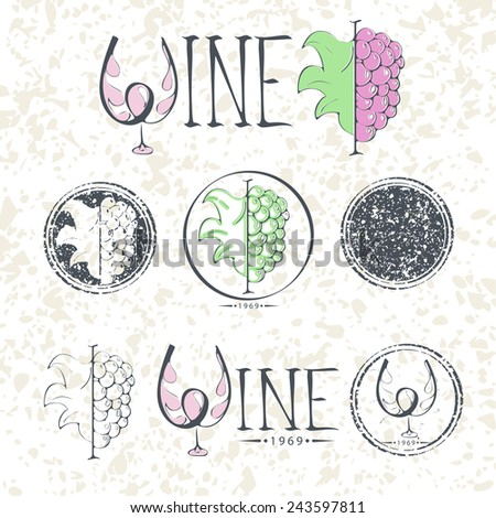 Set labels, wine with grapes,  lettering and logo.