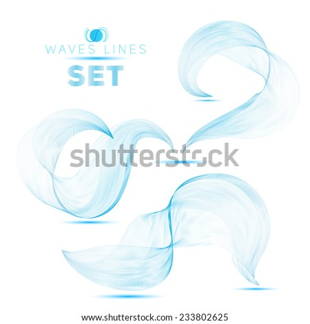 set large beautifull blend blue waves abstract background for design - stock vector