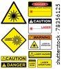 Set laser hazard warning signs. - stock vector