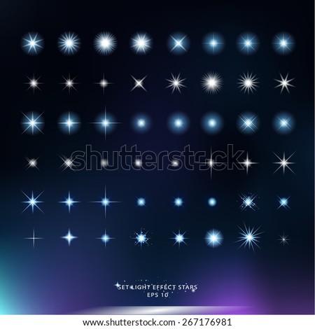 Set Light Effect Stars vector design - stock vector